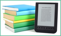 Books and eBook reader representing eBooks