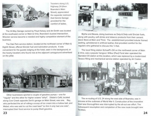 A scanned page for the Rolling into Roanoke brochure featuring Roanoke Filling Stations and Repair Shops