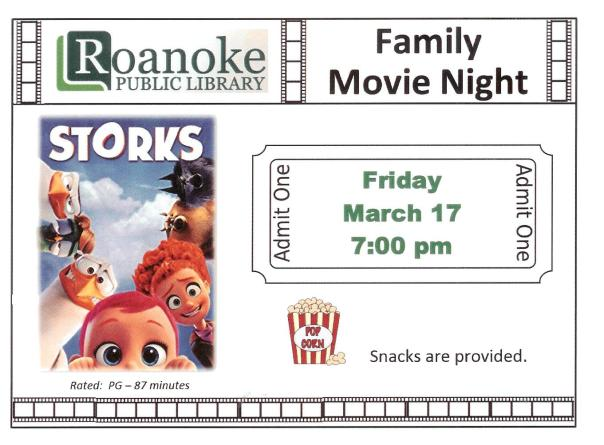 "Family Movie Night March 17, 2017 ""Storks"" at 7 pm"