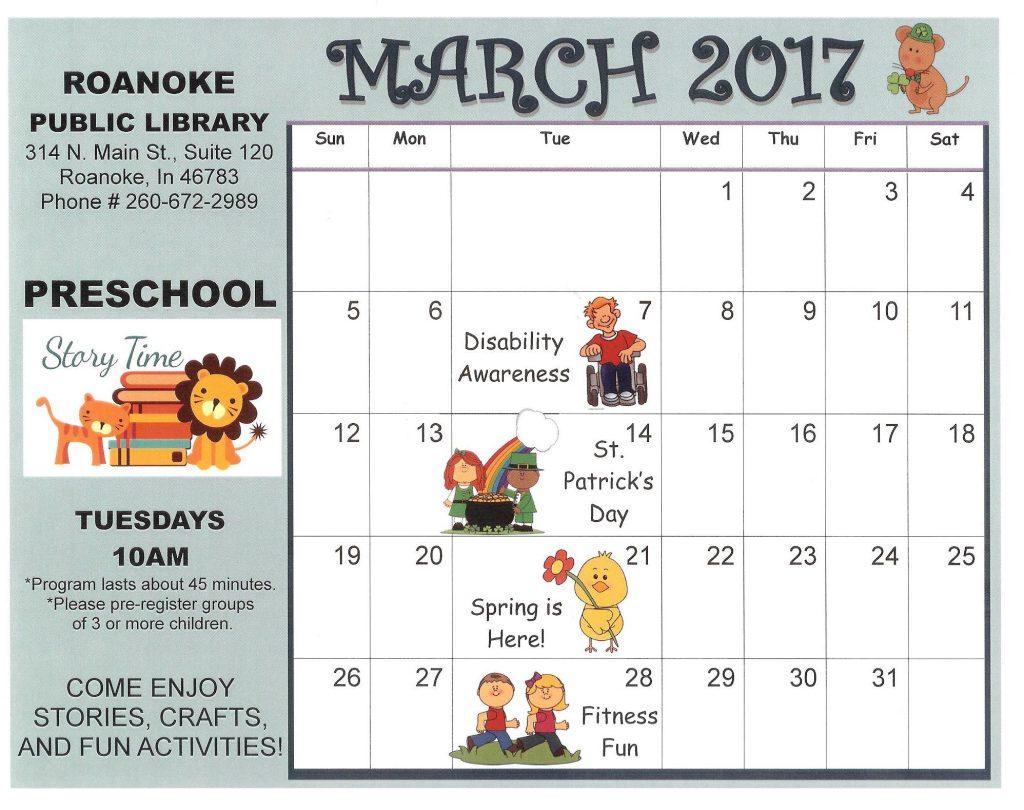March Preschool Story Time Calendar