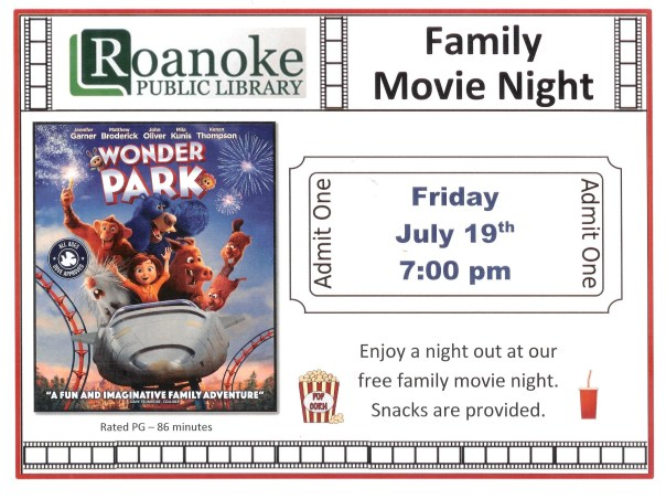 Family Movie Night July 2019 flyer