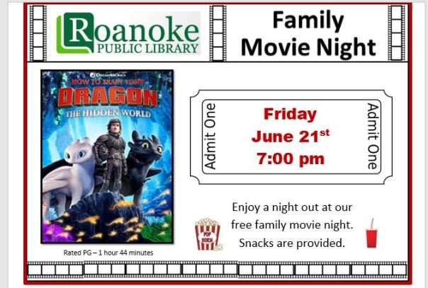 "June 21 Family Movie Night featuring ""How to train your dragon: The hidden world"""