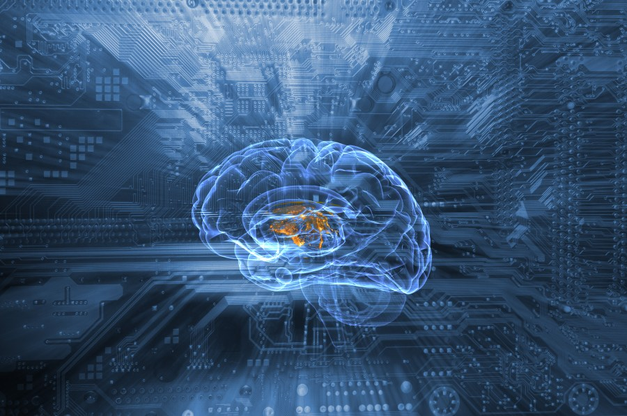 schematic of human brain and communication via circuit-board, artificial intelligence