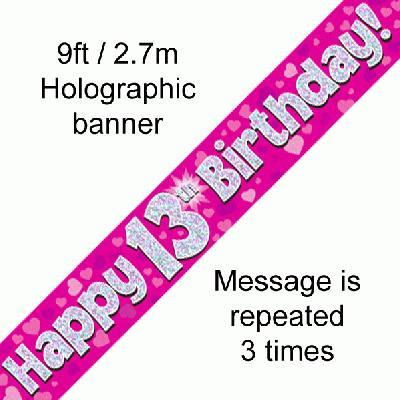 13th Birthday Pink Banner