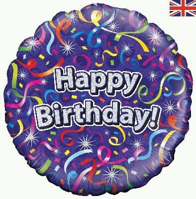 18 inch Happy Birthday Streamers Balloon