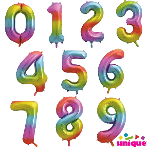 Rainbow Number Balloon