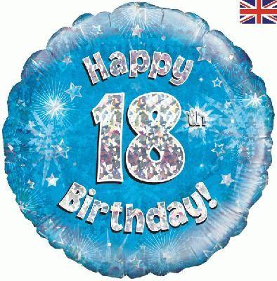 18 inch round 18th Sparkle Blue Birthday balloon