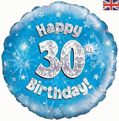 18 inch round 30th Sparkle Blue Birthday balloon