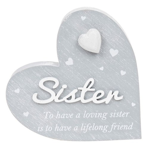 Cool Grey Heart Sister Plaque