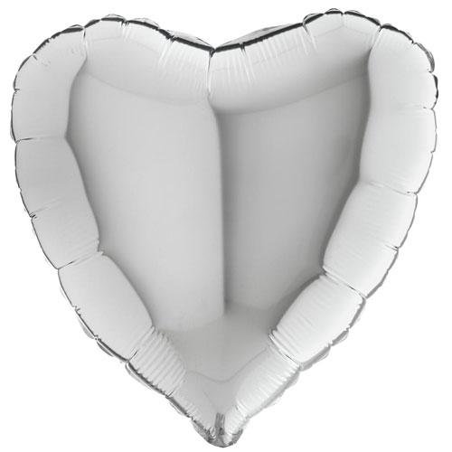 18 Inch Silver Heart Balloon