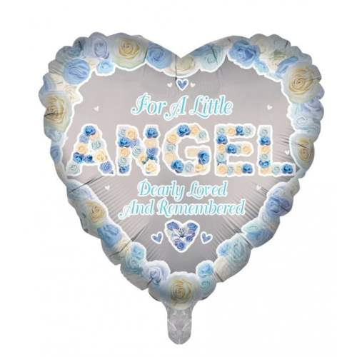 Remembrance Angel Heart Balloon Blue