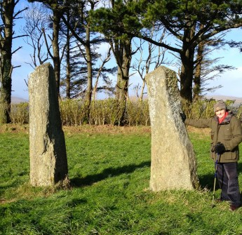 Coolcoulaghta Stone Pair, with Robert for scale