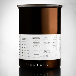Brown Airscape coffee and tea canister with instructions