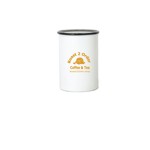 White Airtight Canister with Gold Ink