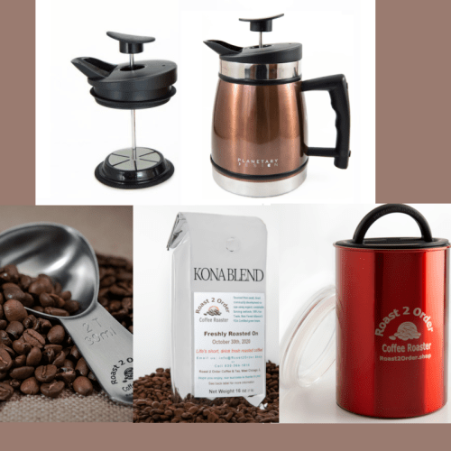 Gourmet Coffee Lovers Starter set includes a 32 oz french press, airtight stainless steel canister, a scoop and a pound of coffee.