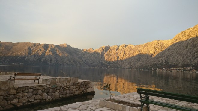 View across Kotor Bay as the sun is setting