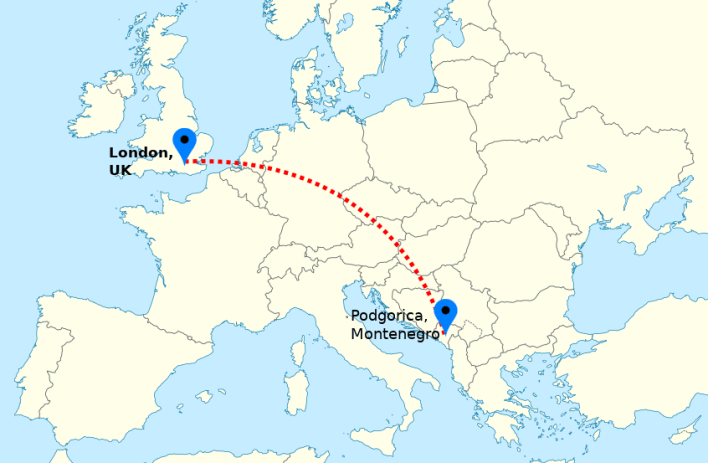 LON>PODGORICA flight map