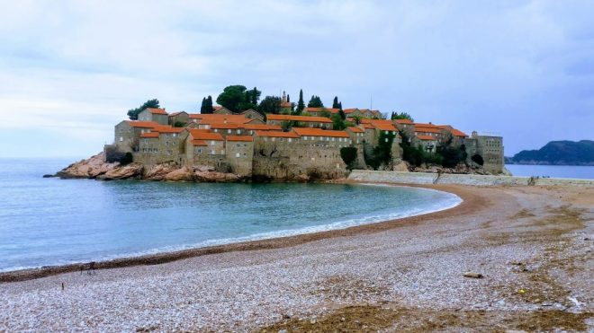 View across the bay to Sveti Stefan