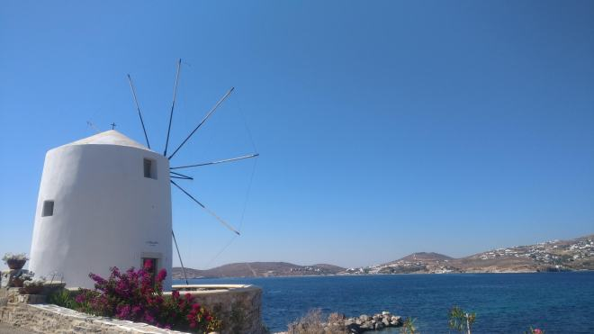 Alexandros Cafe Windmill looking across the bay