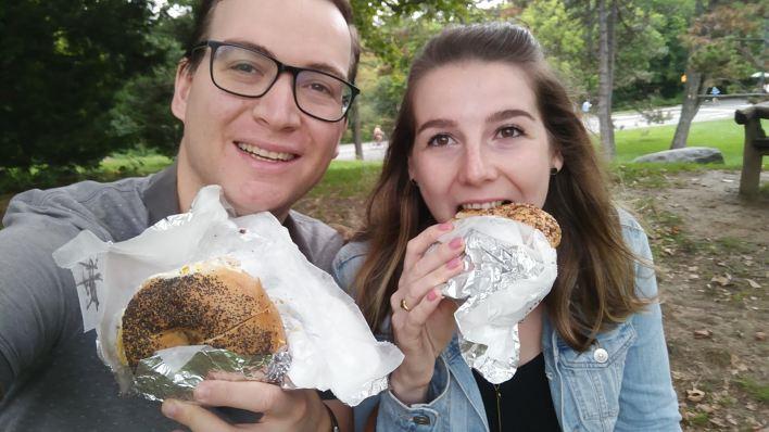 Breakfast Bagels being eaten in Central Park