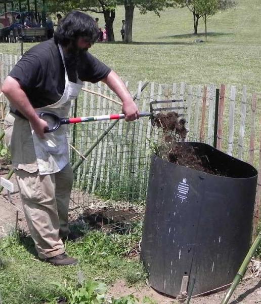 Steven turning compost