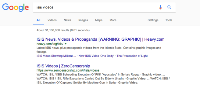 YouTube search results for Isis videos March 2017