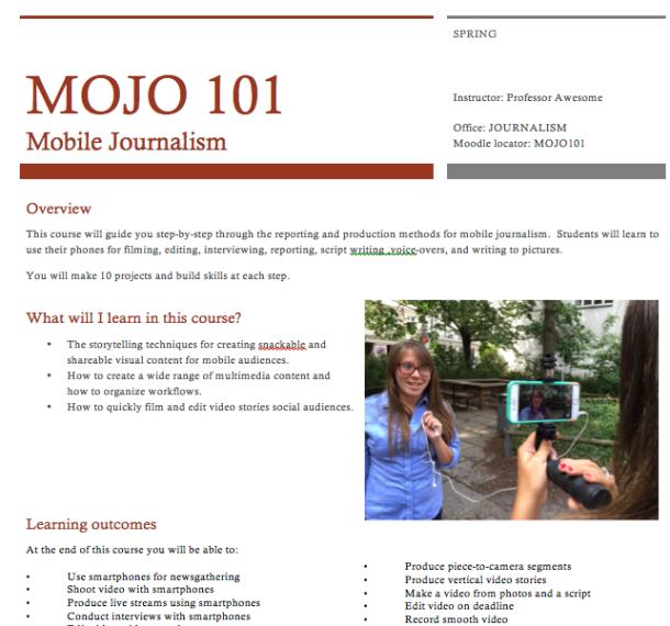mobile journalism syllabus