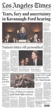 Los Angeles Times Newspaper front page: #KavanaughHearings