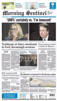 Morning Sentinel Newspaper front page: #KavanaughHearings