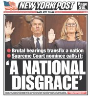 New York Post Newspaper front page: #KavanaughHearings