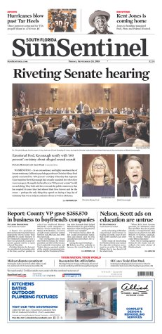 South Florida Sun Sentinel Newspaper front page: #KavanaughHearings