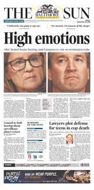 The Baltimore Sun Newspaper front page: #KavanaughHearings