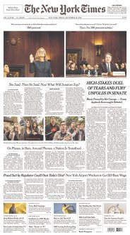 The New York Times Newspaper front page: #KavanaughHearings