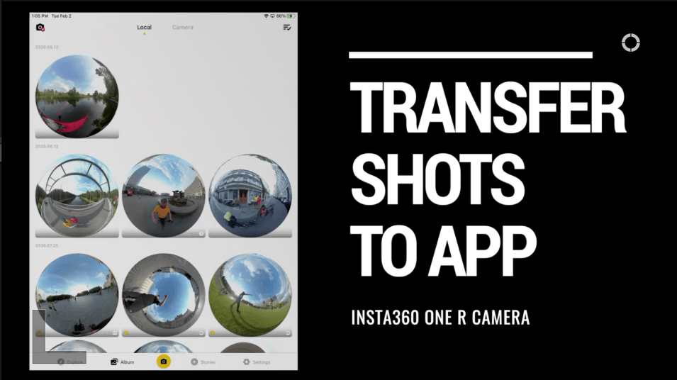 Transfer media from camera to app