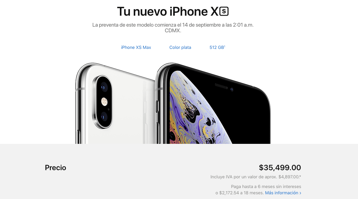 Captura de pantalla 2018 09 13 a las 16.44.06 - ¿Te gustó el nuevo iPhone Xs Max? Tener uno te costará más de 35 mil pesos