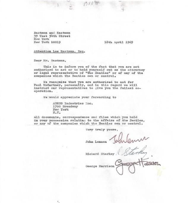 carta 2 - Por 550 mil dólares podrás enterarte del motivo de la separación de Los Beatles