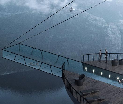 La piscina de este hotel estará suspendida en un acantilado