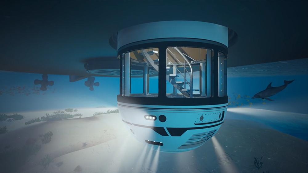 Hydrosphere, el único yate que te permite explorar el mundo sobre y bajo las olas