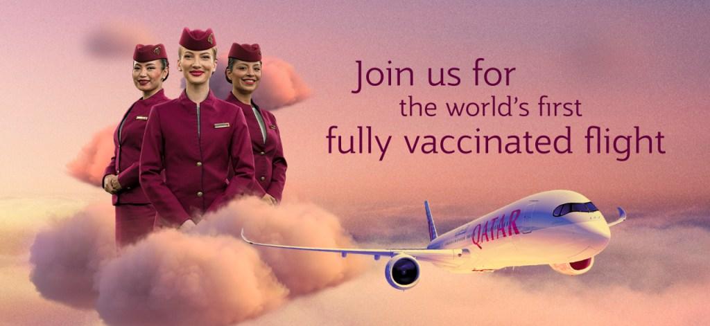 Qatar Airways operó el primer vuelo del mundo libre de Covid, con toda la tripulación y pasajeros vacunados