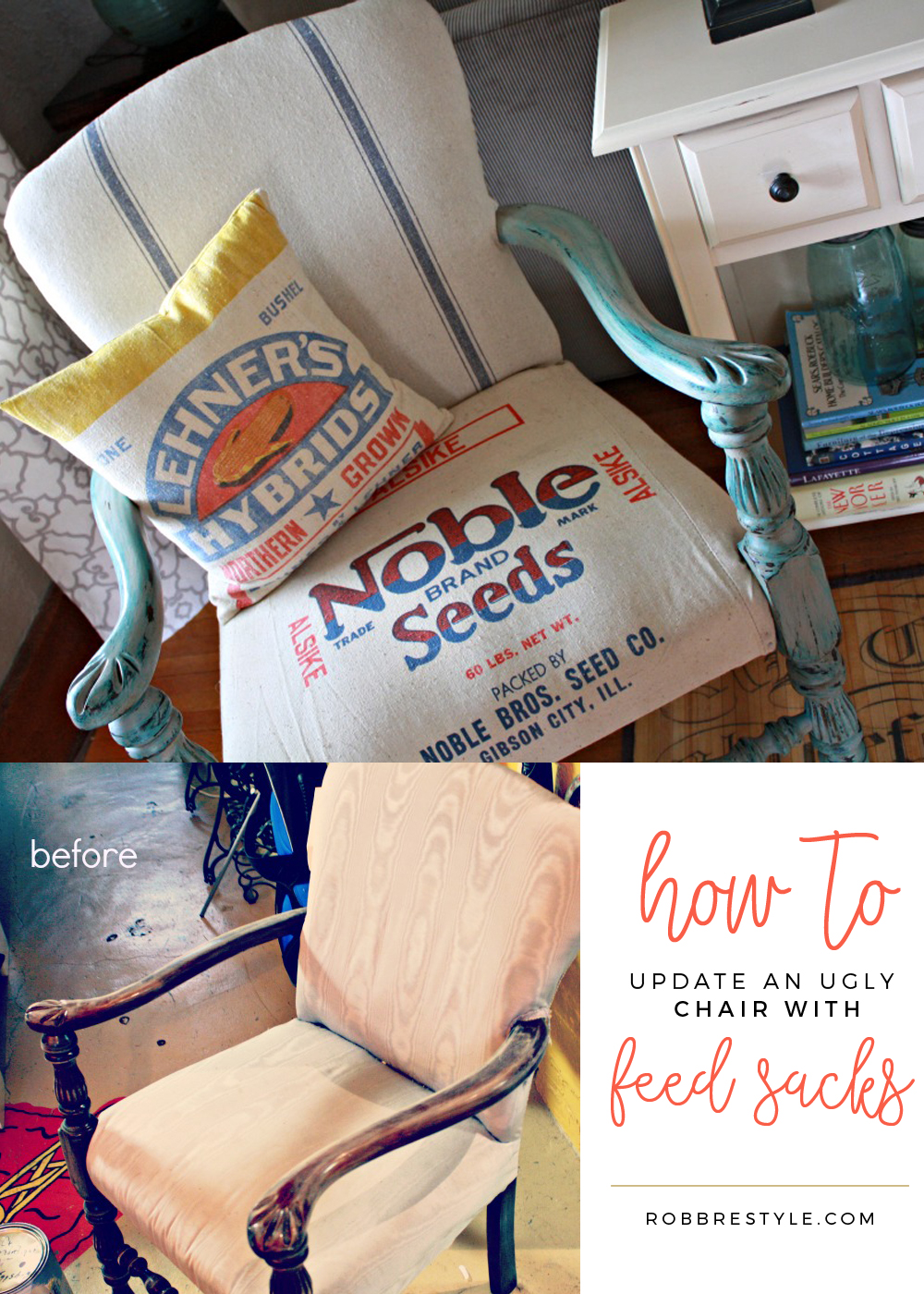 DIY Feed Sack Chair Makeover - Farmhouse Style