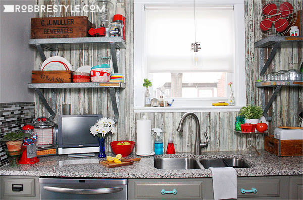 DIY Vintage Farmhouse Kitchen Design by RobbRestyle.com with Reclaimed Wood Backsplash