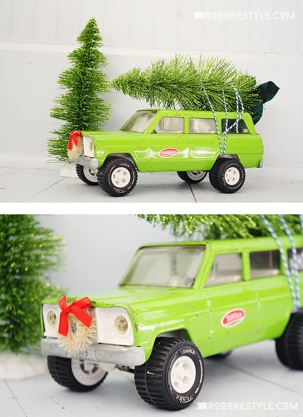 Vintage truck with christmas tree decor