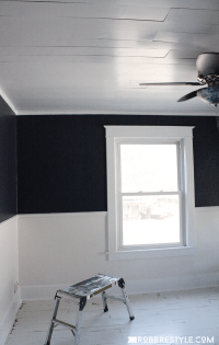 DIY Shiplap Bedroom Ceiling - Robb Restyle