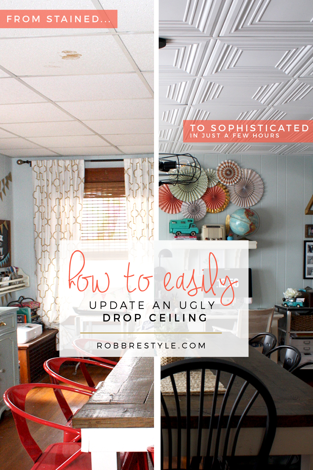 How to Easily Update an Ugly Drop Ceiling | Robb Restyle