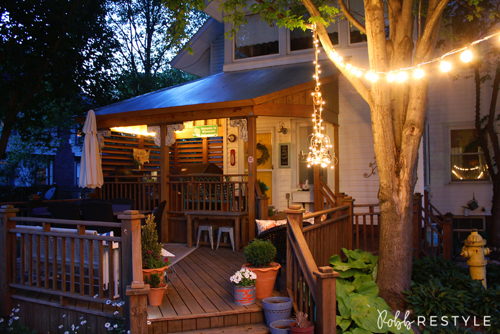 Summer backyard home tour - string lights