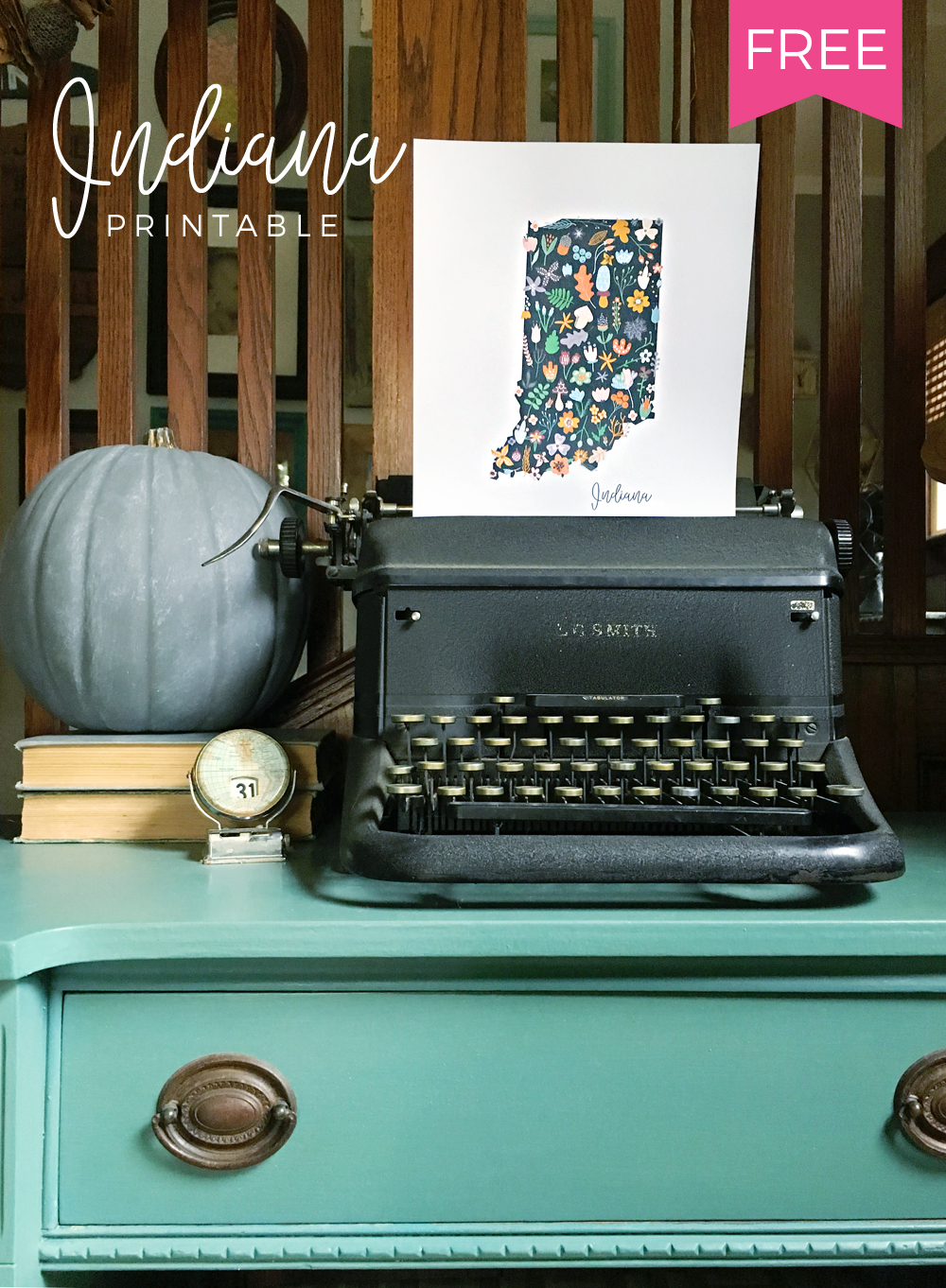 Free Indiana Printable for Fall Home Decor