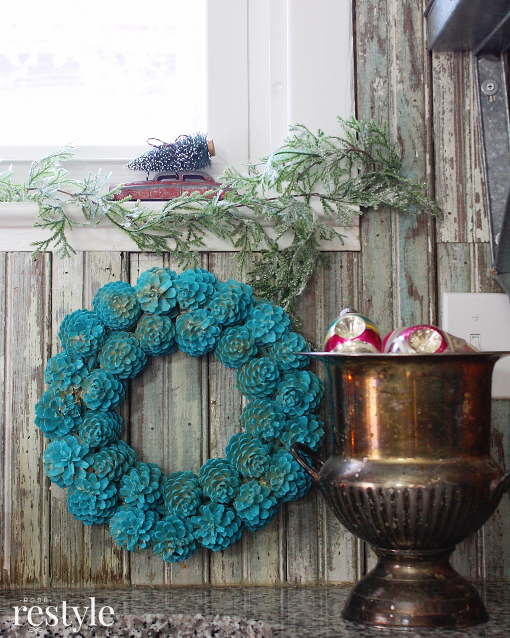 Aqua Pinecone Wreath Kitchen Decor