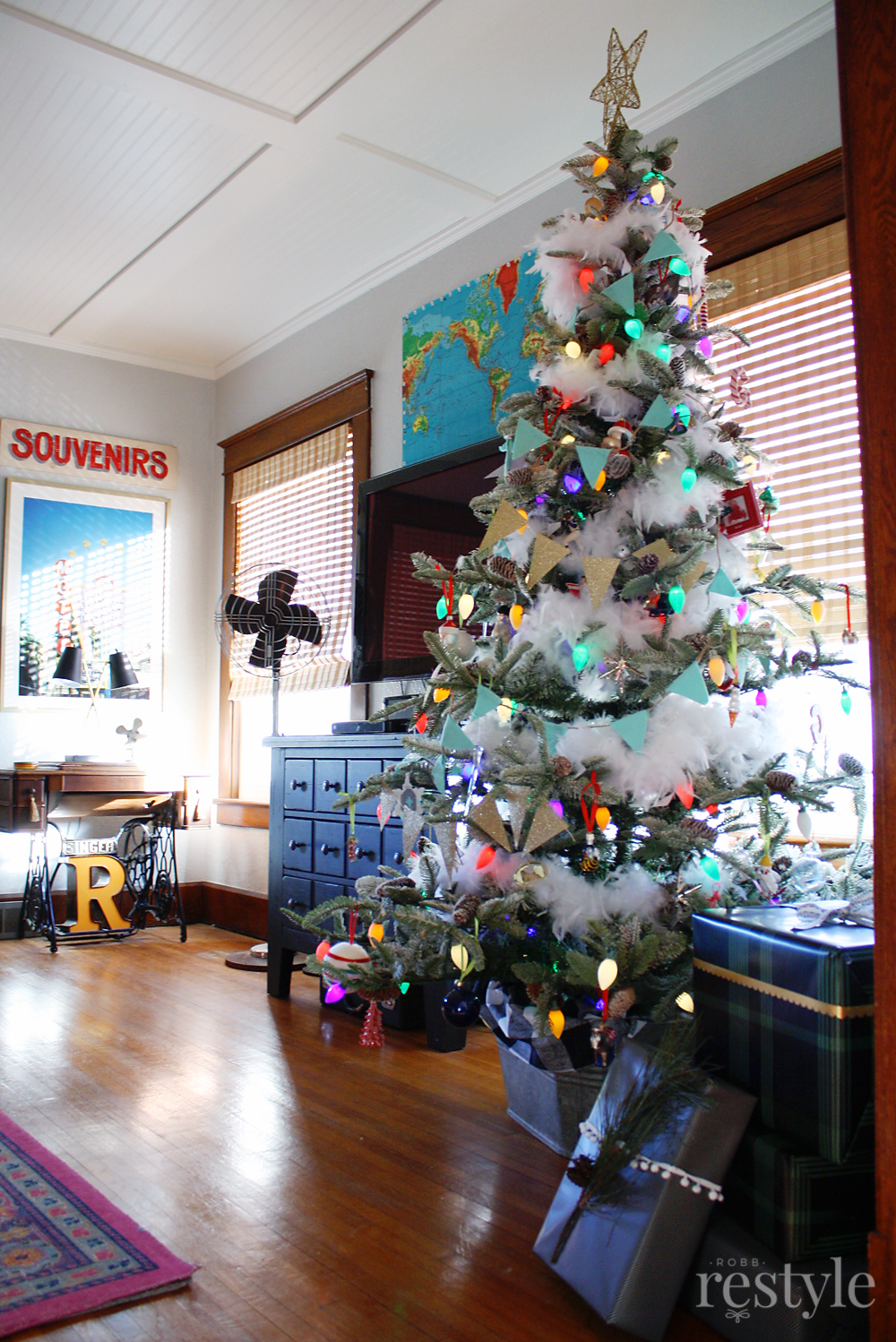 Holiday Decorated Vintage Living Room