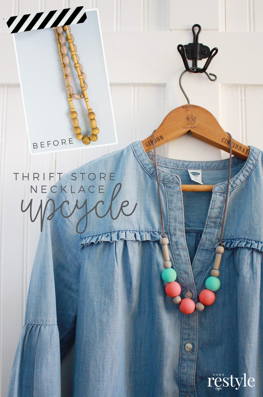 DIY Thrift Store Wood Bead Necklace Upcycle