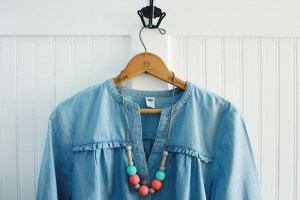 DIY wood bead necklace modern upcycle idea